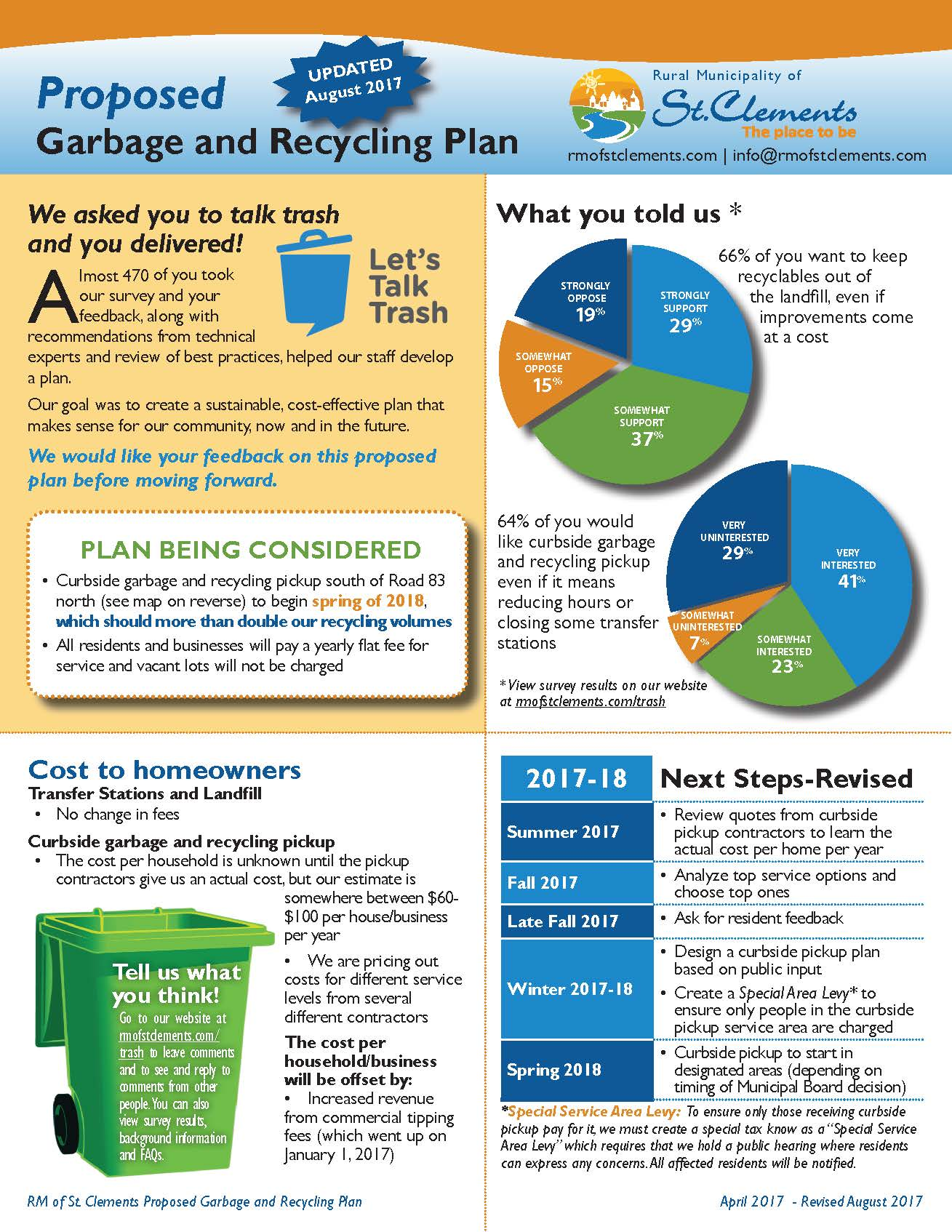 Proposed Curbside Garbage and Recycling Pickup information sheet-page 1