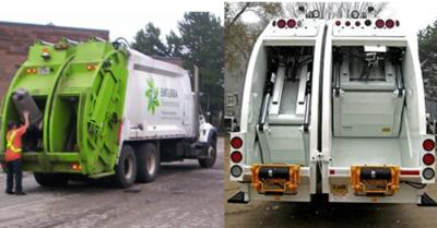 Emterra's split-body trash and recycling truck