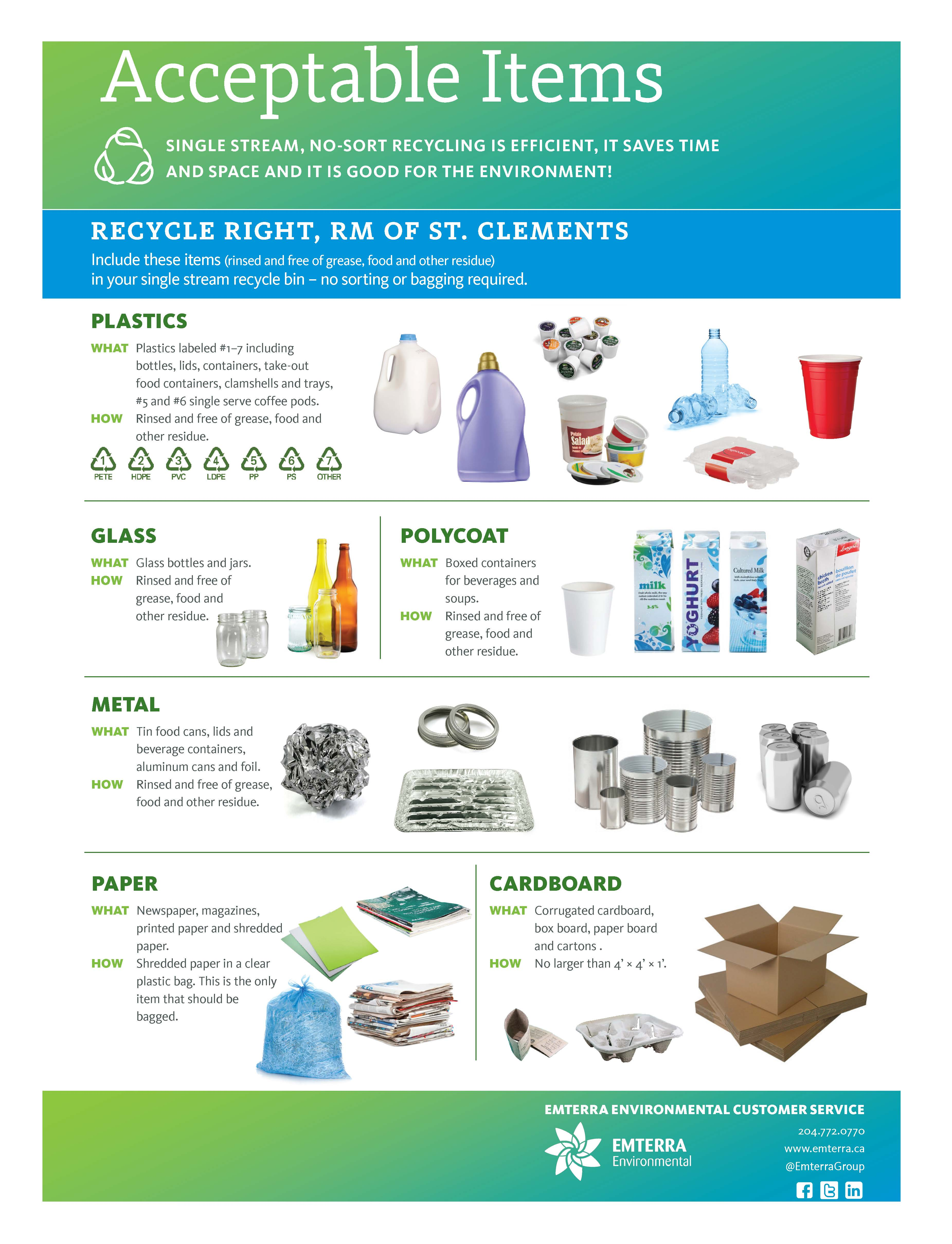 RM of St. Clements Curbside Pickup Recyclable Items