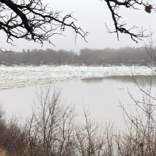 Edge of ice on Red River in spring melt